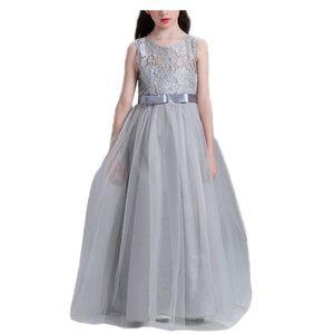 New Dressfan Girl's Long Princess Dress Tulle Lace Gray Size 160 (12 Years)